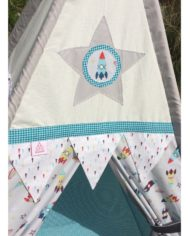 Outer space and rockets teepee set star motif design