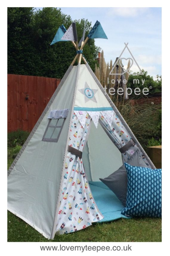 boys space rocket teepee tent fabrics collection