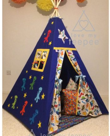 .Children's teepees handmade & personalised in the UK  You have the flexibility to custom this 't rex dinosaur teepee' set when ordering; decorative appliquéd dinosaur and stars side panel. Choose your teepee size and colour, add decorative lace or pom poms on the door edges. Choose the style of door tie backs, windows and the pole casement colour. Add matching accessories scatter cushions, padded floor playmat, large floor cushion and bunting. Finish the look with flags or feather pole toppers. Main colours white, ivory, blue, yellow, grey, red, green, orange. Adding a name is free. Easy payment plans available.  See the description for a step by step guide or contact Love My Teepee.