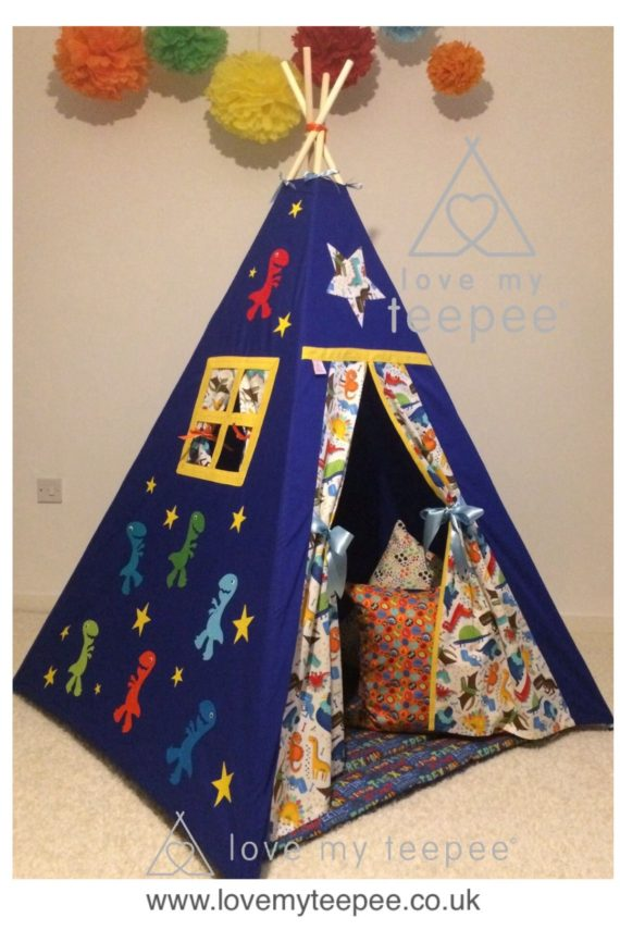 .Children's teepees handmade & personalised in the UK You have the flexibility to custom this 't rex dinosaur teepee' set when ordering; decorative appliquéd dinosaur and stars side panel. Choose your teepee size and colour, add decorative lace or pom poms on the door edges. Choose the style of door tie backs, windows and the pole casement colour. Add matching accessories scatter cushions, padded floor playmat, large floor cushion and bunting. Finish the look with flags or feather pole toppers. Main colours white, ivory, blue, yellow, grey, red, green, orange. Adding a name is free. Easy payment plans available.See the description for a step by step guide or contact Love My Teepee.