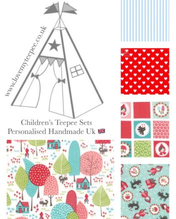 Children's teepees handmade & personalised in the UK  You have the flexibility to custom this  'little red riding hood teepee' set when ordering. Choose your teepee size and colour, add decorative lace or pom poms on the door edges. Choose the style of door tie backs, windows and the pole casement colour. Add matching accessories scatter cushions, padded floor playmat, large floor cushion and bunting. Finish the look with flags or feather pole toppers. Available colours white, ivory, pink, blue, red, aqua. Adding a name is free. Easy payment plans available.  See the description for a step by step guide or contact Love My Teepee.