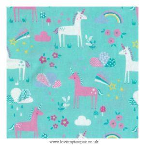 aqua unicorn forest cushion cover
