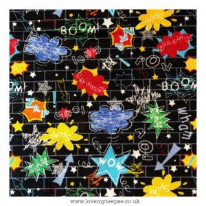 black superhero words floor mat
