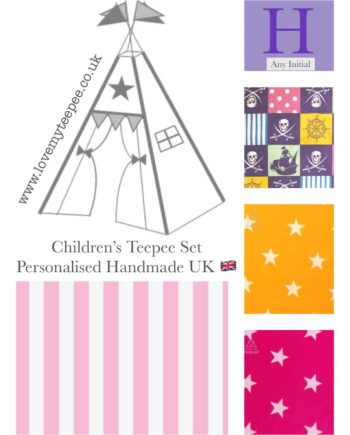 Children's teepees handmade & personalised in the UK  You have the flexibility to custom this 'purple pirate teepee' set when ordering. Choose your teepee size and colour, add decorative lace or pom poms on the door edges. Choose the style of door tie backs, windows and the pole casement colour. Add matching accessories scatter cushions, padded floor playmat, large floor cushion and bunting. Finish the look with flags or feather pole toppers. Main colours white, ivory, lilac, pink, cerise, yellow, purple. Adding a name is free. Easy payment plans available.  See the description for a step by step guide or contact Love My Teepee.