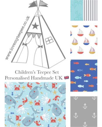 sail away sea life, whale, octopus, crab, fish, boat kids teepee tent set mat cushions