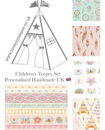 Children's teepees handmade & personalised in the UK You have the flexibility to custom this very pretty 'bohemian dream catcher teepee' set when ordering. Choose your teepee size and colour, add decorative lace or pom poms on the door edges. Choose the style of door tie backs, windows and the pole casement colour. Add matching accessories scatter cushions, padded floor playmat, large floor cushion and bunting. Finish the look with flags or feather pole toppers. Main colours white, ivory, pink, blue. Adding a name is free. Easy payment plans available.See the description for a step by step guide or contact Love My Teepee.