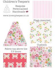 pink Floral butterflies teepee set childrens personalised uk