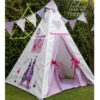Childrens appliqued castle teepee in lilac and pink