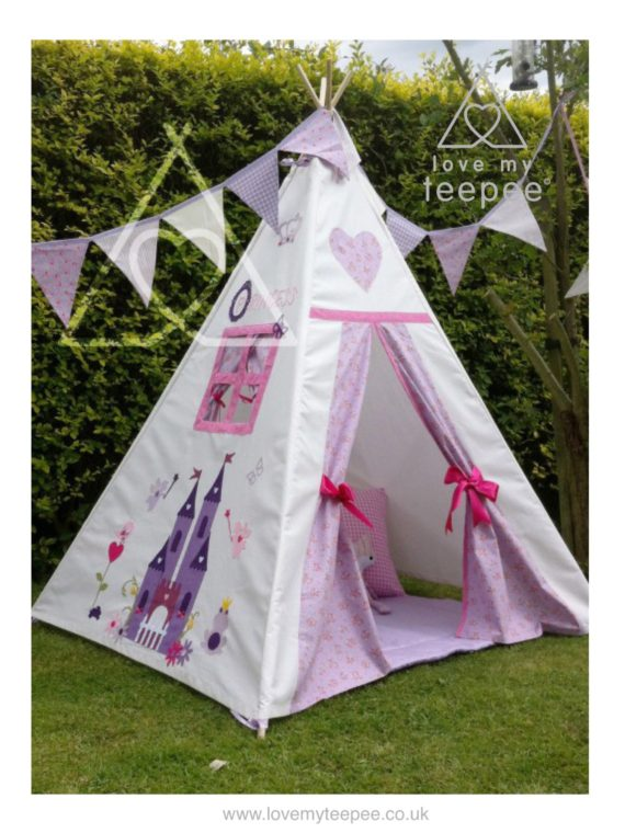 Childrens appliqued castle teepee tent in lilac and pink