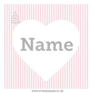 pink stripe heart cushion cover + name/initials