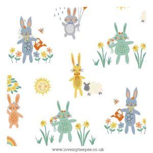 bunnies on white cushion cover