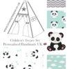 childrens nursery panda teepee tent