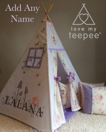 sanderson fairyland forest teepee name with bluebells, fairy and butterflies edged in lilac