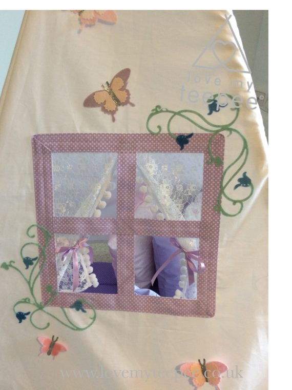 sanderson fairyland forest teepee window with bluebells and butterflies