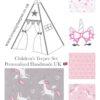 childrens grey and pink unicorn nursery teepee