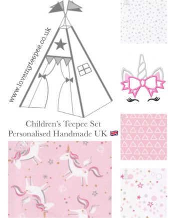 girls pink and white unicorn teepee tent personalised handmade uk