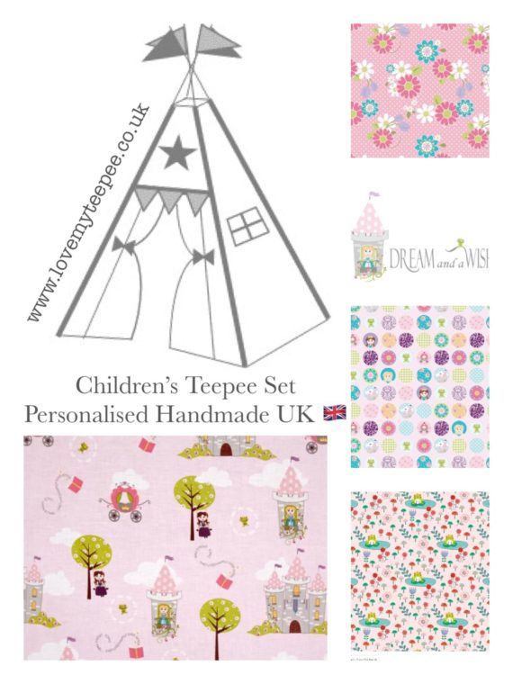 princess pink dream and a wish teepee fabric set