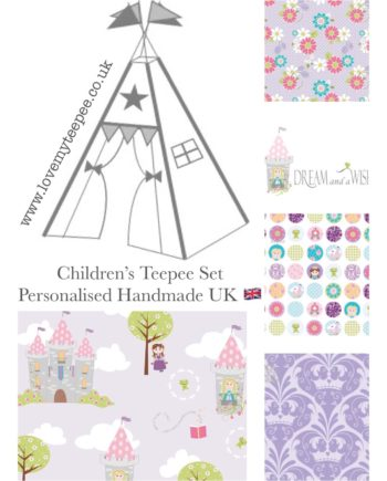 princess lilac dream and a wish teepee fabric set