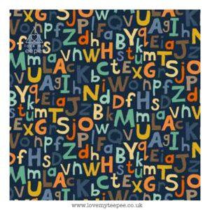 alphabet on blue cushion cover