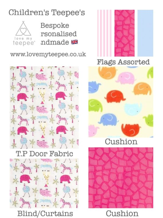 the wild jungle animals childrens pink teepee fabric collection