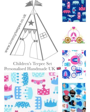princess life aqua blue and pink childrens fabric teepee set