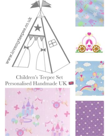 pink princess fairytale childrens fabric teepee set