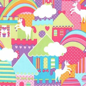 castle town & unicorns cushion cover