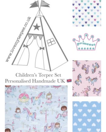 glitter princess and unicorns childrens fabric teepee set