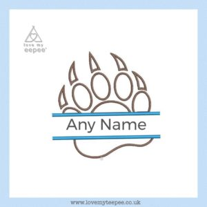 paw print with name cushion cover, / main colour optional  white, beige, blue, candy blue (leave a note during check out)