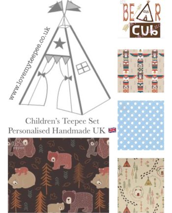 childrens personalised bear cub teepee set beige blue brown fabric