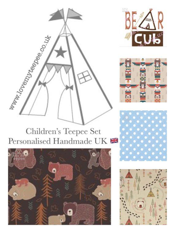 childrens personalised bear cub teepee set beige blue brown fabric