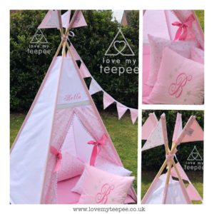 personalised girls pink unicorn teepee tent
