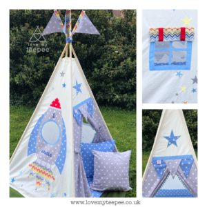 boys personalised rocket kids teepee tent