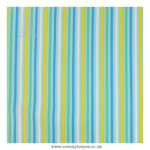 candy stripe multi on blue cushion cover