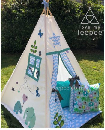kids teepee tent elephant blue and green