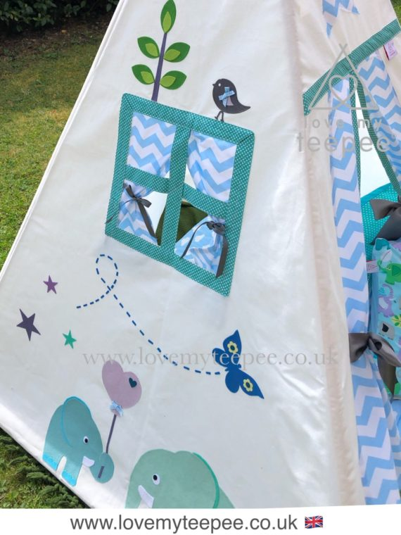 kids teepee tent elephant with a window blue and green