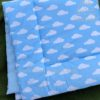 kids wadded floor play mat blue clouds fabric