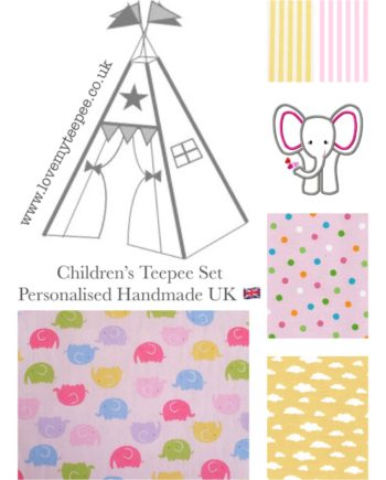 kids teepee tent elephant fabric collection pink and lemon yellow