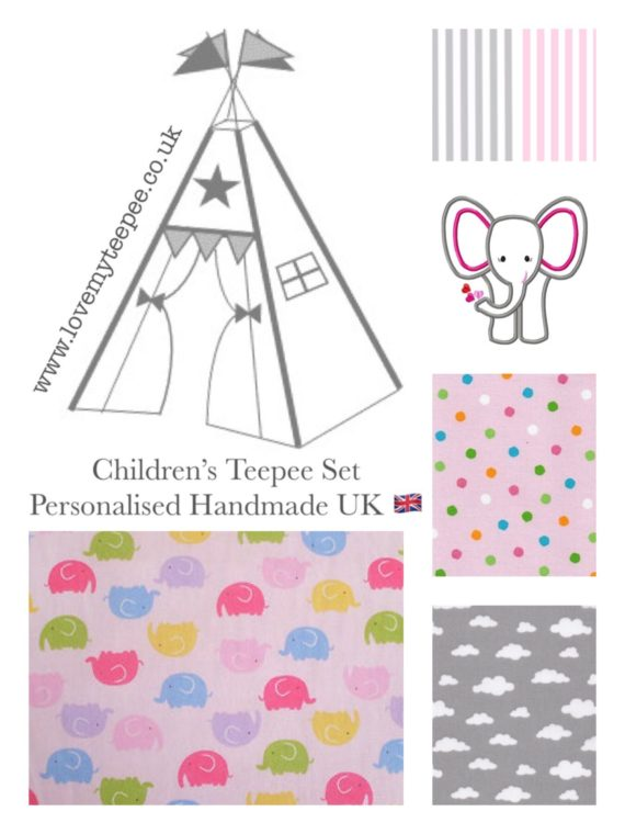 kids teepee tent elephant fabric collection pink and grey