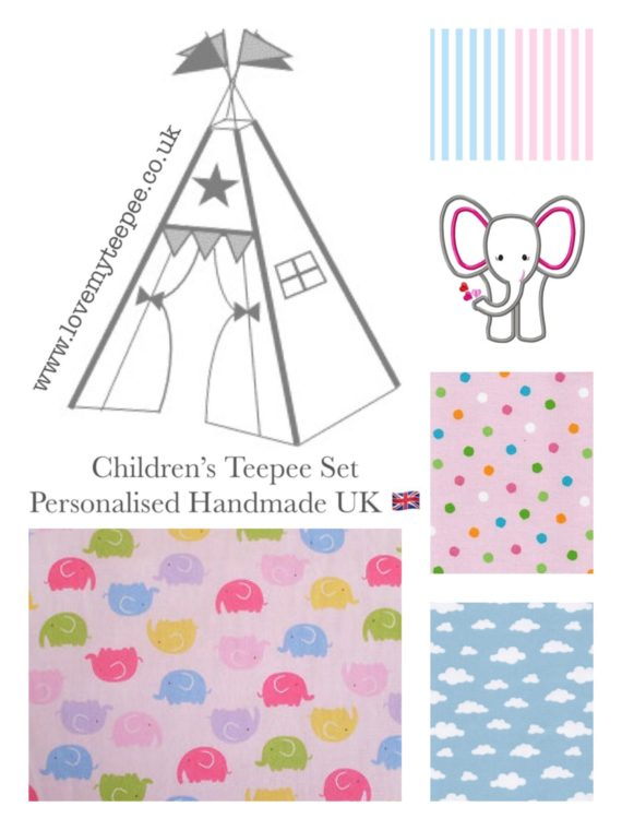 kids teepee tent elephant fabric collection pink and blue