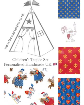 kids brave medieval knight teepee tent fabric collection red and blue and grey