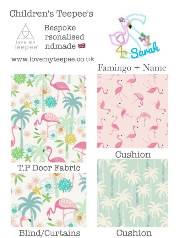 girls flamingo teepee tent fabric collection