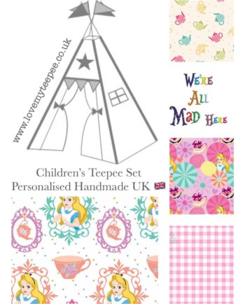 disney alice in wonderland girls teepee tent fabric collection
