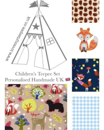 boys fox forest friends kids nursery teepee tent fabric set