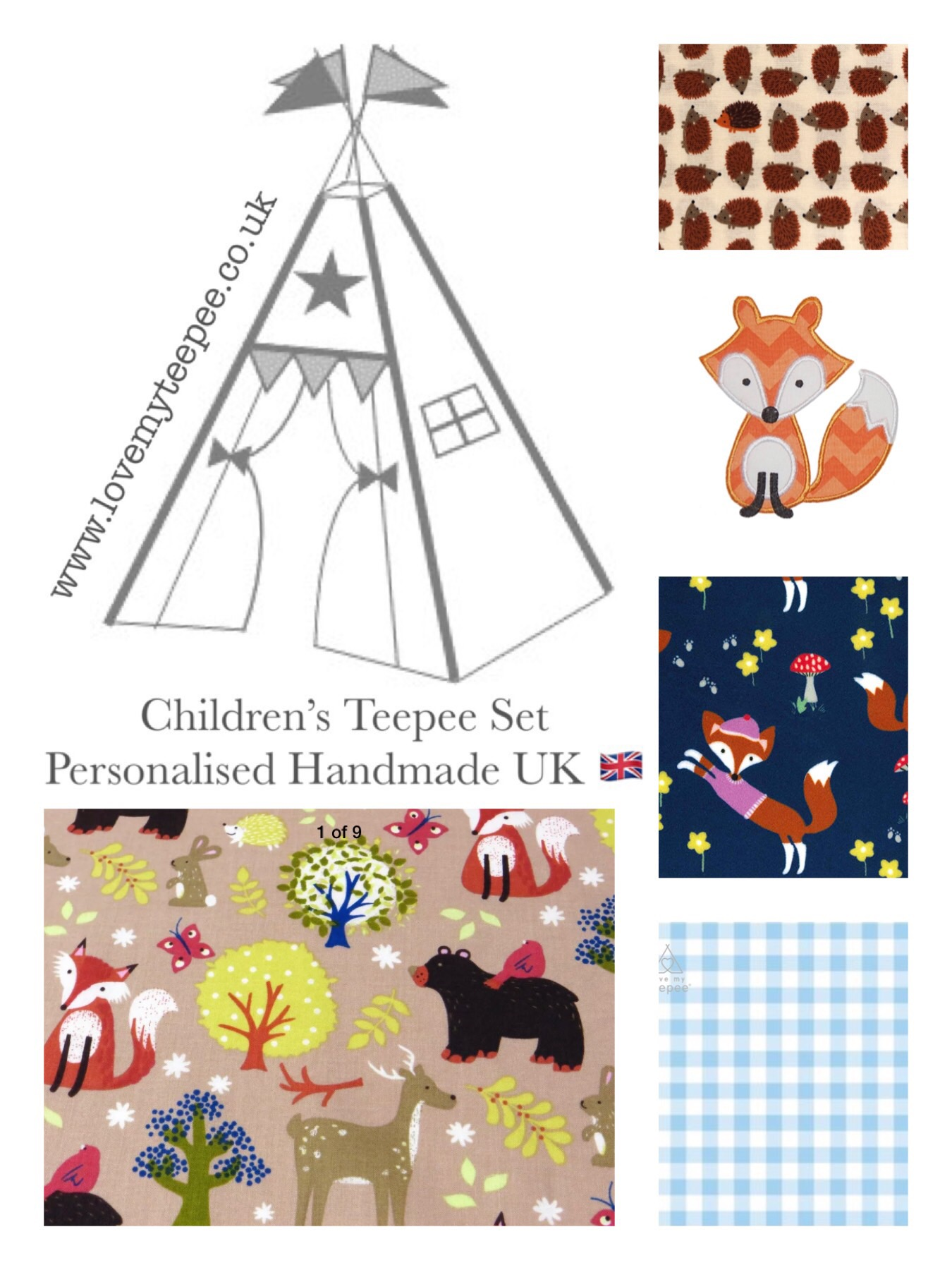 Fox Amp Forest Friends Teepee Tent Mat Cushions Kids Personalised From Love My Teepee