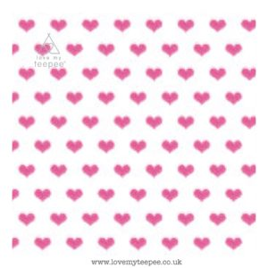 white with pink hearts cushion cover