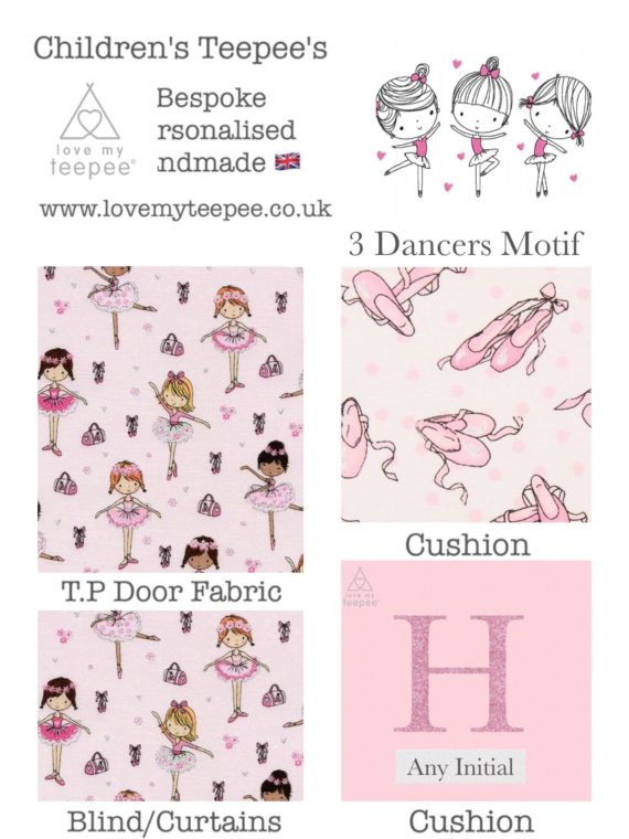 pink ballerina girls teepee tent fabric collection personalised