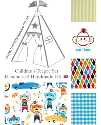 boys sock monkey kids teepee tent fabric set