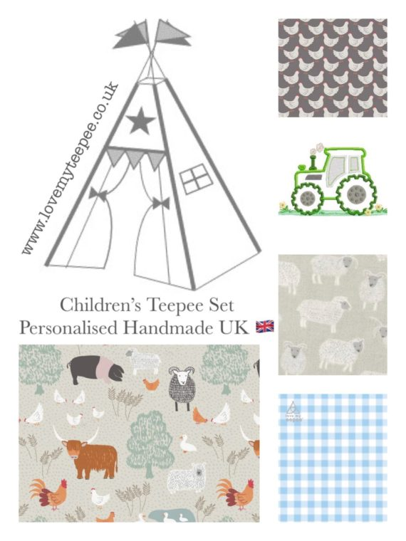 country life farm animals and tractor kids teepee tent fabric collection
