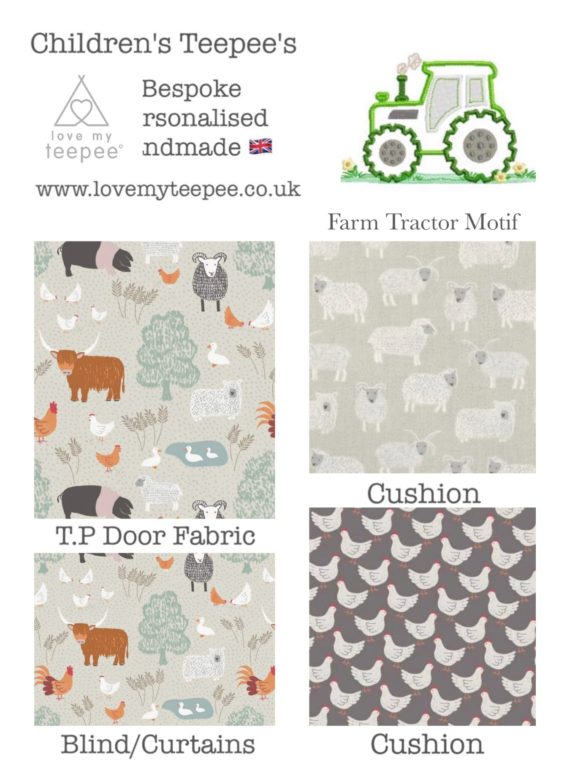 country life animals and tractor kids teepee tent fabric collection